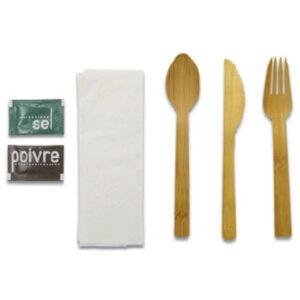 Kit Couvert 6 en 1 Bambou Sachet Papier Kraft 11.5cm 17cm