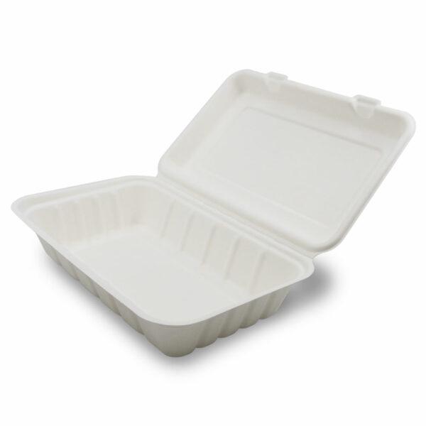 Boîte Repas 1 Compartiment Bagasse Fermé 23.9x15.6x6.3cm