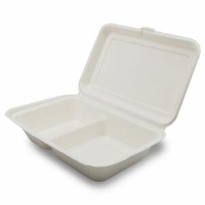 Boîte Repas 2 Compartiments Bagasse Fermé 24.1x16.3x6.5cm