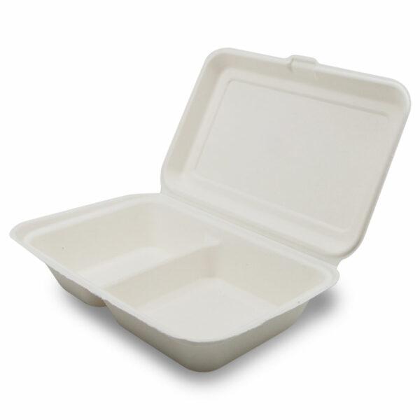 Boîte Repas 2 Compartiments Bagasse Ouvert 24.1x16.3x6.5cm