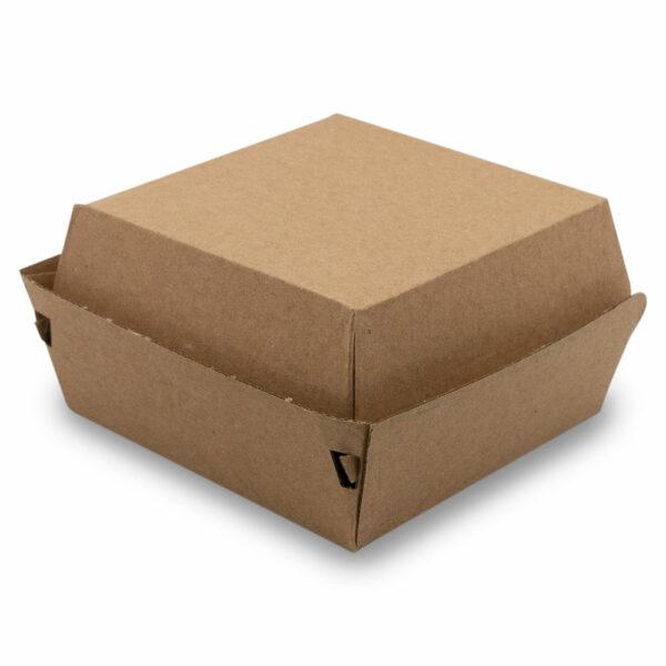Boîte Burger Double Carton Kraft Fermé 11.5x11.5x6.5cm