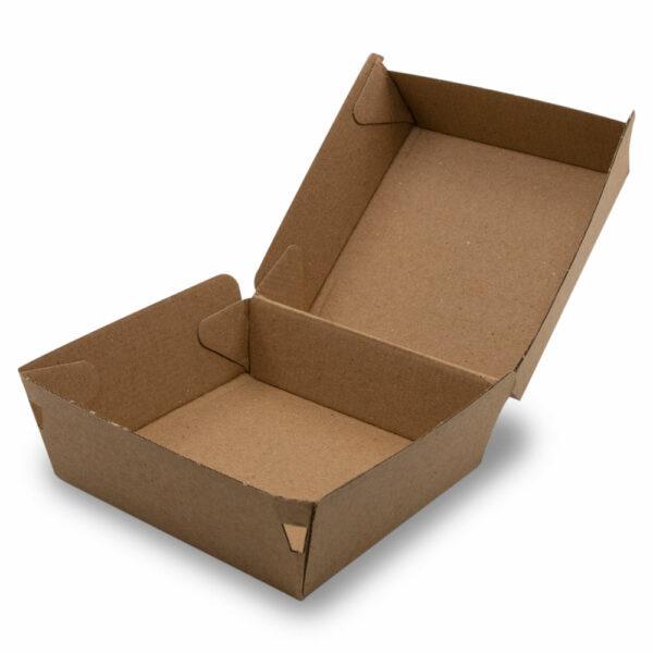 Boîte Burger Double Carton Kraft Ouvert 11.5x11.5x6.5cm