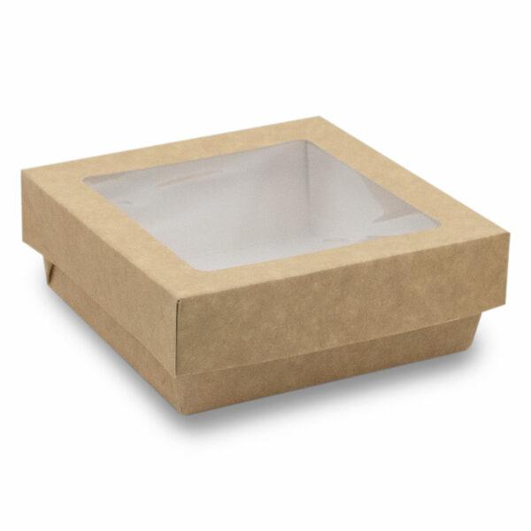 Boîte Kraft Brun Fenêtre avec Couvercle 11.5x11.5x4cm