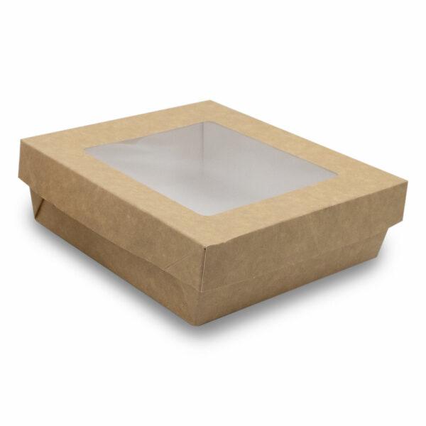 Boîte Kraft Brun Fenêtre avec Couvercle 15.5x15.5x5cm