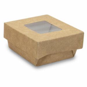 Boîte Kraft Brun Fenêtre avec Couvercle 6.5x6.5x4cm