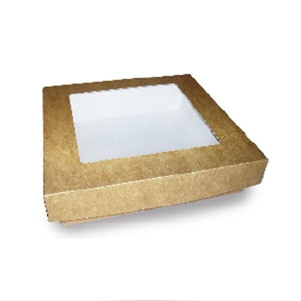 Boîte Kraft Fenêtre Couvercle Biodégradable 12.5x12.5x5cm