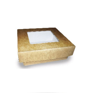 Boîte Kraft Fenêtre Couvercle Biodégradable 9.5x9.5x4cm