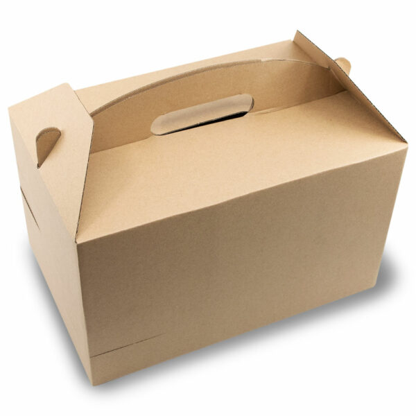 Boîte Lunch Poignée Calage Gobelet Carton Kraft 30x20x17.5cm