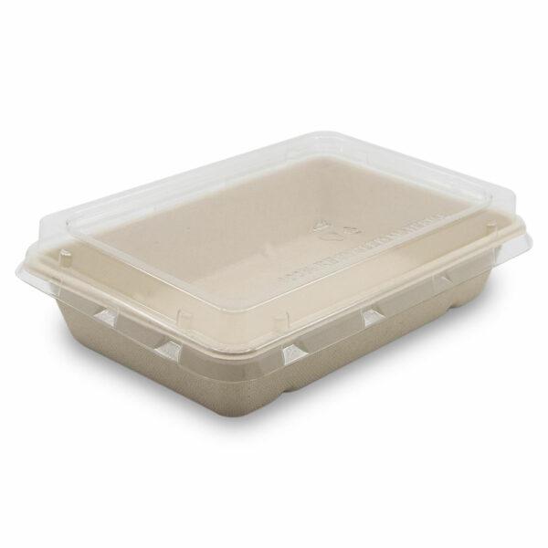 Boîte Rectangle Bagasse avec Couvercle Fermé 23x15,5x4,6cm