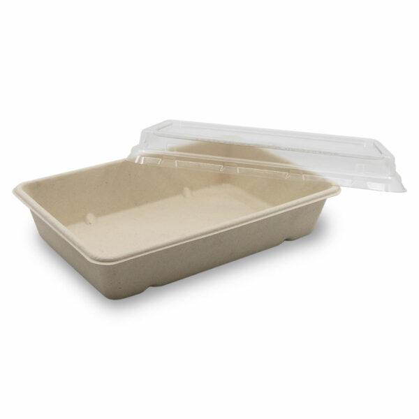 Boîte Rectangle Bagasse avec Couvercle Ouvert 23x15,5x4,6cm