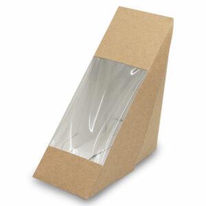 Boîte Sandwich Triangle Fenêtre Kraft 12.3x12.3x5.5cm