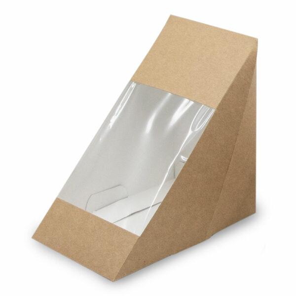 Boîte Sandwich Triangle Fenêtre Kraft 12.3x12.3x8.2cm