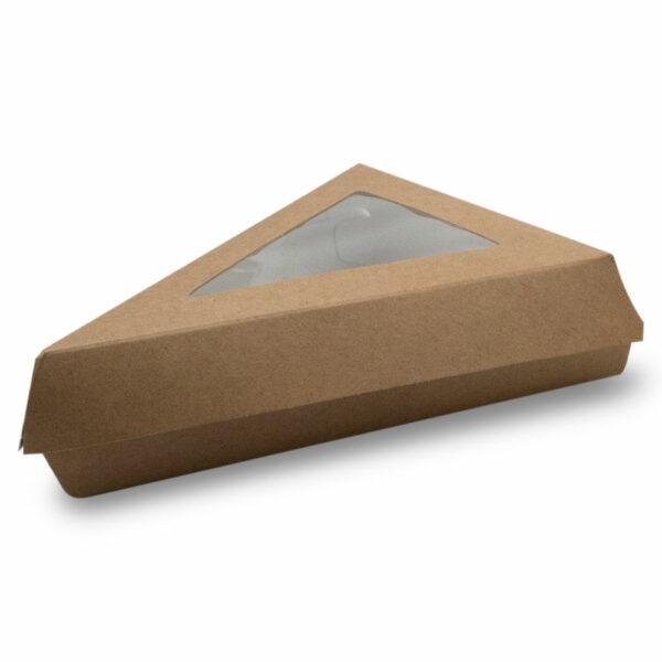 Boîte Triangle Kraft Brun Fenêtre 17x17x13cm