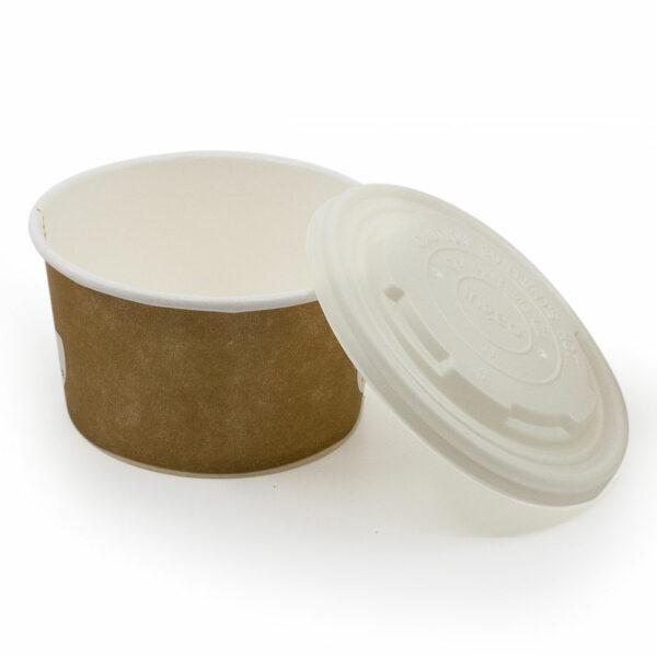 Pot à soupe Carton PLA Couvercle cPLA 11.5x11.5x14.8cm