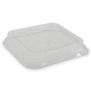Couvercle rPET pour Boîte Rectangle Bagasse 15.6x15.6x4.4cm