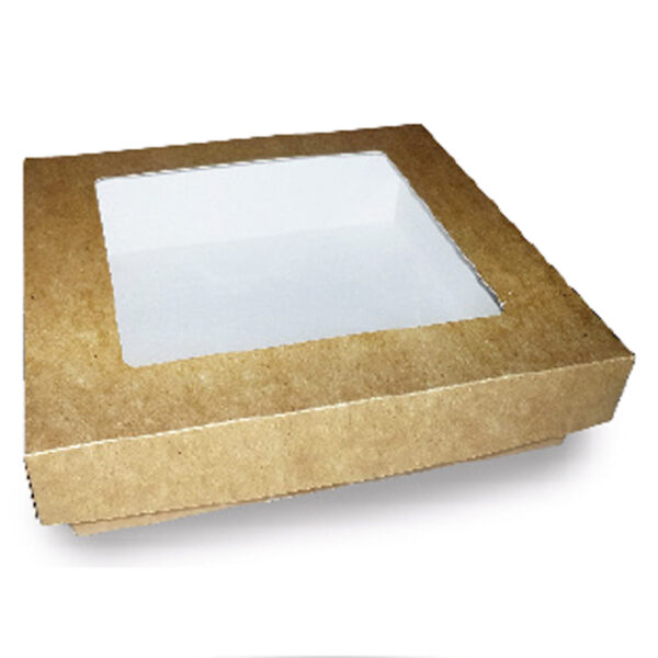 Boîte Kraft Fenêtre Couvercle Biodégradable 17x17x5cm