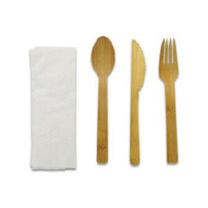 Kit Couvert 4 en 1 Bambou Sachet Papier Kraft 17cm
