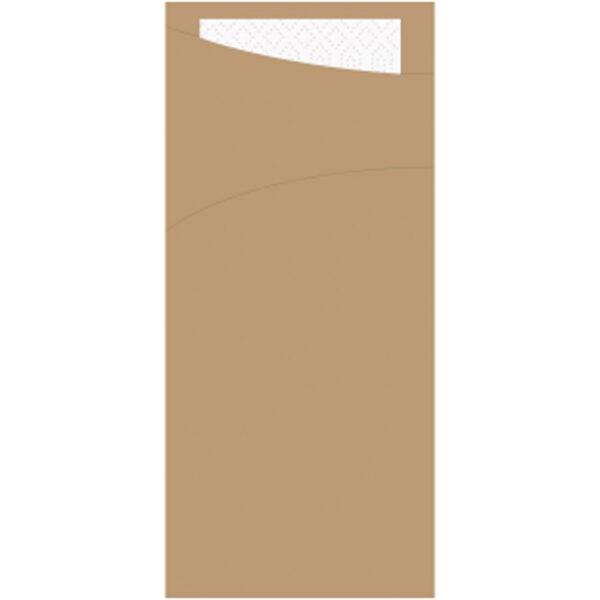 Pochette Kraft 8.5x19cm et Serviette Blanche 33x33cm